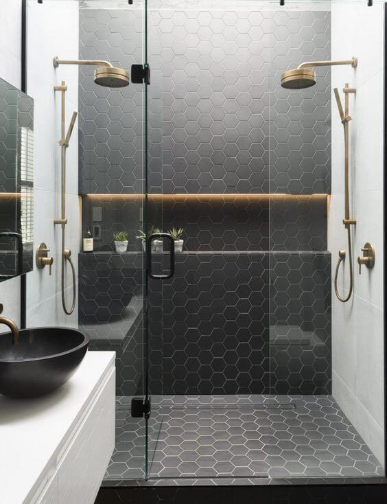 baño blanco y negro proveedora de la construccion